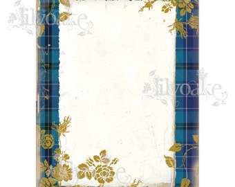 Highland Blue Tartan Panel Card