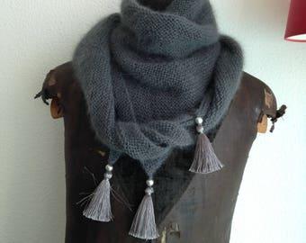 angora hand knit triangle