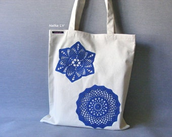 Tote bag, natural white shopping bag, linen eco bag, bag with crochet doily, grocery bag, summer canvas bag, market bag, beach bag, handmade