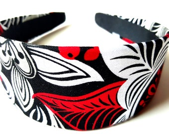 Black Red White Floral Headband 2 Inch