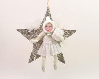 READY TO SHIP Spun Cotton Vintage Style Twinkle Star Girl Ornament