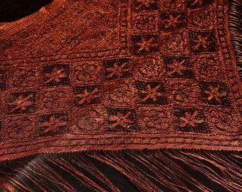 Lace scarf bridal shawl lace wrap bohemian fashion triangle shawl brown lace bridesmaid shawl wedding lace shawl dark brown shawl vintage