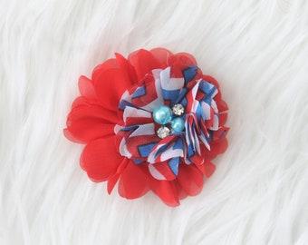 4th of july baby headband, newborn headband, infant headband, shabby flower headband, baby hair band, fourth of july headband, labor day