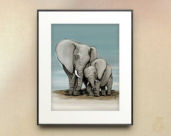 Elephant nursery art print // Mom and baby // wall art // 8x10 11x14