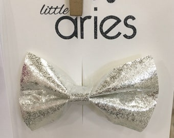 Silver Shimmer Bow - Baby Headband - Baby Bows - Soft Bows - Photo Props - Headbands or Clip - Infant and Toddler - Newborn - Baby Girl