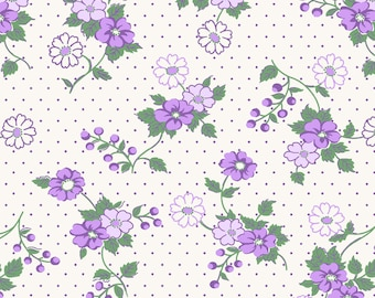 Sweet Purple and Green Flowers and Dots on White Cotton Quilt Fabric, Berries & Blossoms by Maywood Studios, Fat Quarter, Yardage, MAS8832-V