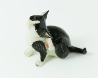 Miniature Black And White Cat Scratching - Ceramic Hand Painted