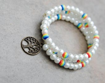 Rainbow and White Beaded Bracelet with Tree of Life Charm