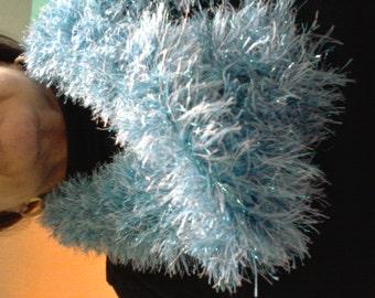 Light Blue Faux Fur Fuzzy Hand-crocheted Scarf