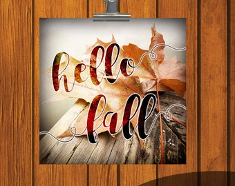 Hello Fall / 12x12 / 6x6 / 4x4 / print / Watercolor Print / orange / yellow / Thanksgiving / Digital Download / leaf / leaves / autumn