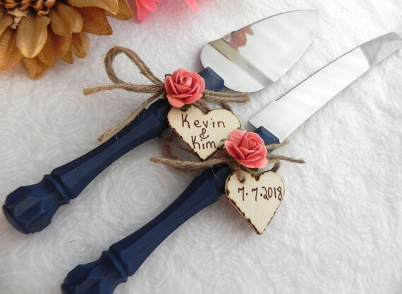 Rustic Chic Wedding Cake Server And Knife Set, Navy Blue and Coral, Personalized Wood Hearts, Bridal Shower Gift, Wedding Gift