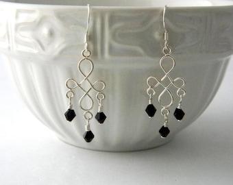 Sterling Silver Cross Pattern Black Drop Earrings Chandelier Earrings