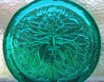 Cape Cod Greenman Green Man Pressed Art Glass Suncatcher Ornament