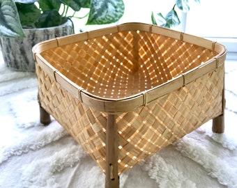 Vintage Basket, Stilted Basket, Square Basket, Gift Basket, Elevated Basket, Display Basket, Woven Basket, Storage Basket, Unique Basket