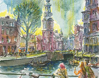 WESTERKERK AMSTERDAM CANALS.Watercolors Westerkerk Amsterdam. Anna Frank house. Canals district. Jordan district. Jordaan. Pink  bicycle.