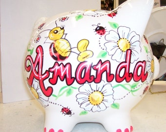 Personalized Piggy Bank -  Ladybugs and Flowers