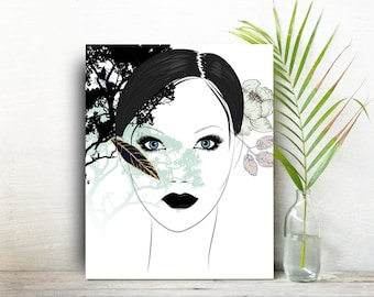Living room wall art woman painting gift for best friend bff gift Minimalist inspirational gift for women black and white Wall Art Gifts