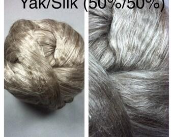 Yak Silk Top Undyed / Yak Mulberry Silk Top 50/50 / Tibetan Yak Cultivated Silk Roving Grey / 2oz 4oz 8oz