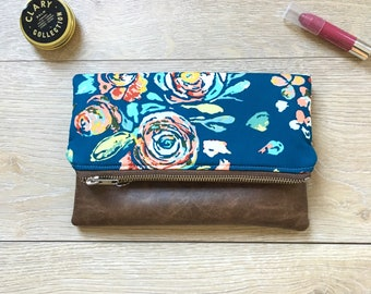 Teal floral fold over clutch- fold over clutch - fold over purse - tral floral purse - blue and coral clutch - leather clutch