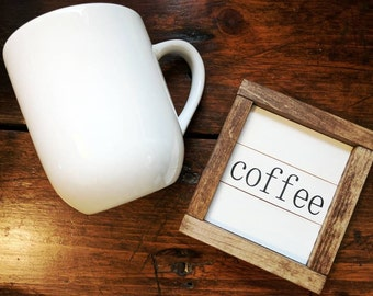Rustic farmhouse inspired 'coffee' ultra mini SHIPLAP framed wood sign