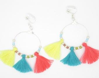 Hoop clip EARRINGS or pierced with glass beads, tassel... ears was gift idea