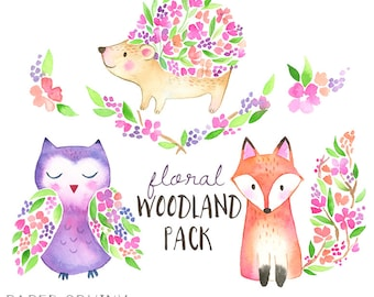 Flower Woodland Animals Clipart I Woodland Watercolor Clipart - Floral Fox, Hedgehog, Owl - Watercolor Nursery Art - Instant Download PNG
