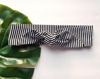 Black and White Stripe - Headband Headscarf Neckscarf Adult