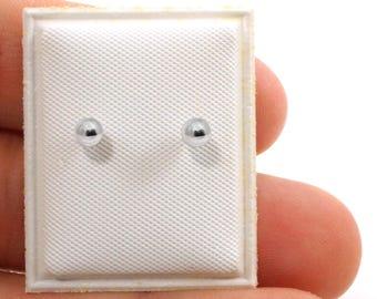 Sterling Silver Screw back Ball Little Girl Earrings -4mm
