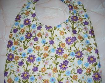 Purple flower print Adult Size Bib / Clothing Protector - Reversible