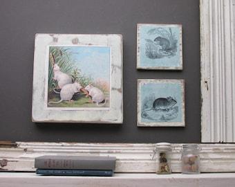 "mouse - home decor - a 3 piece wall collage - ""Field Trip ""- farmhouse decor - mice"