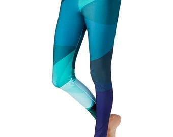 Blue Leggings / Workout Leggings /  Modern Geometric Design Print Leggings / Colorful Leggings, Leggings Women / Printed Yoga Pants