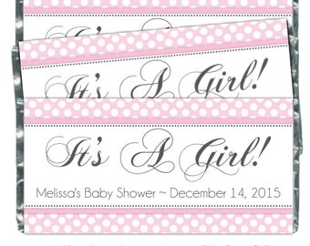 Girl Baby Shower Candy Wrappers - fit over 1.55 oz chocolate bars - pink polka dot candy wrapper