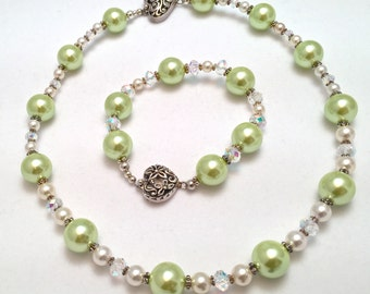 Plus Size Necklace and Bracelet Set ~ Freshwater Pearl ~ Swarovski Crystal ~ Swarovski Pearl ~ Sterling Silver ~ Jewelry Gift Set