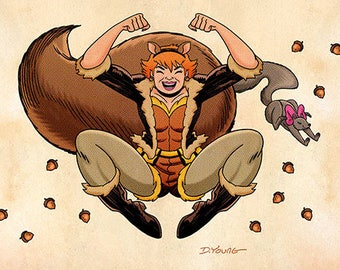 Squirrel Girl, Color, 11 x 17 Print by Darryl Young