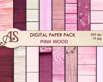 Digital Pink Wood Paper Pack, 16 printable Digital Scrapbooking papers, Wooden Collage, Decoupage papers, Instant Download, set 134