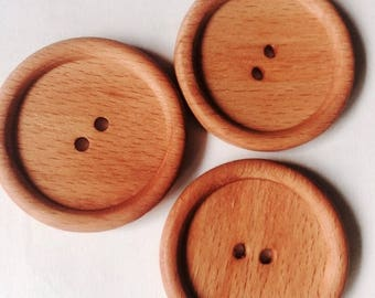 large 45MM beige wooden DILL buttons