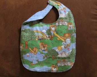 Rabbits in Park Large Toddler Bib Preschool Bib  Flannel Terry Cloth Lined with batting Snaps Preschool Drooler Bib  Drooling Bib Spring