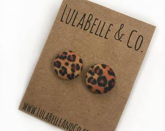 Leopard Button Earrings