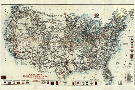 US highway map 1918 Vintage US road map 4 sizes up to