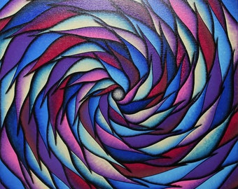 Modern painting: spiral blue and purple.