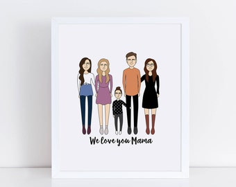 Custom Family Portrait, Family Illustration, Personalized Portrait, Anniversary Gift, Father's Day, Mother's Day, Family Art Print