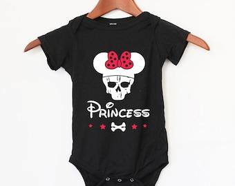 Baby Girl Bodysuit Disney Skull Princess Style - Best Baby Gift