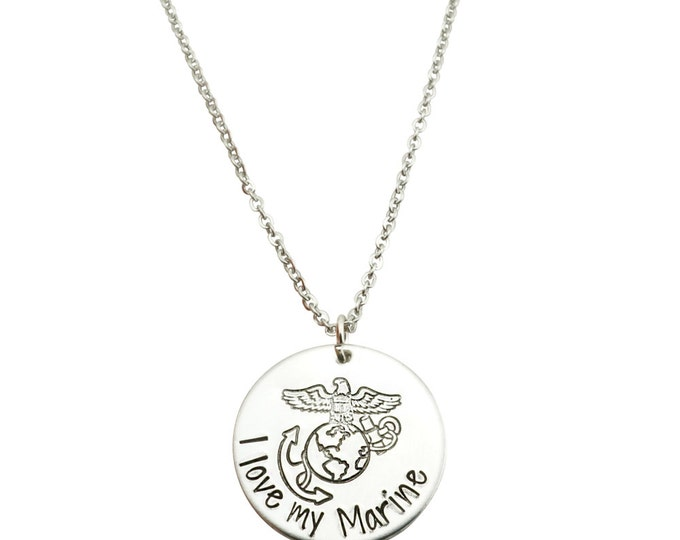 I love my marine - marine girlfriend necklace - marine wife jewelry - marine wie necklace - USMC wife - my marine holds my heart -