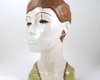 Cassiope  XXXI, Ceramic Artwork Sculpture, head of woman, Ceramic Sculpture, Unique Ceramic Figurine, art fine ceramic, Ceramic,  sculpture