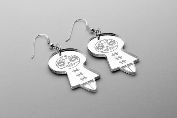 Catrina earrings - Mexican doll earrings - Calavera jewelry - Santa Muerte - sterling silver findings - lasercut mirror acrylic - Halloween