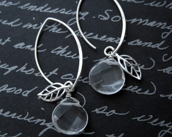 Apple - clear crystal briolette silver leaf earrings