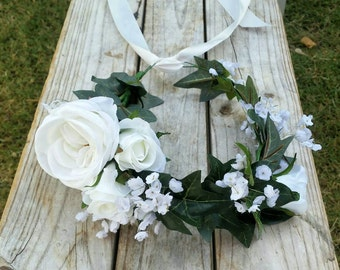 White Flower Crown Babys Breath Wedding Crown Roses Ivy Leaves White Bridal Floral Crown Headband