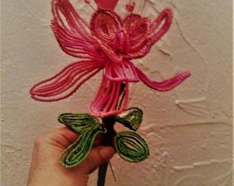 Big red flower. Beads;  Gift. Love, friendship. 33 cm / 15 cm. Rigid stem perfect for Valentines. 16 petals.