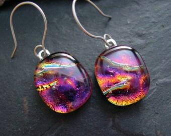 Black Cherry Ripple Fused Dichroic Glass Dangle Earrings.  E-59