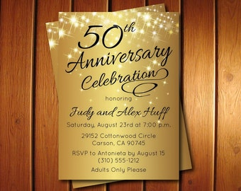 50th Anniversary Invitation | Golden Invite | Party Printable Invitations